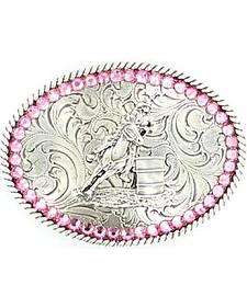 Girls' Barrel Racer Pink Rhinestones Belt Buckle