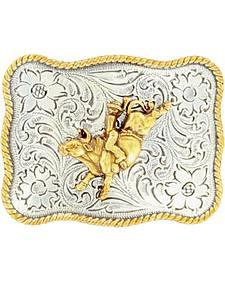 Nocona Kids' Silver & Gold Bucking Bronco Floral Etched Belt Buckle