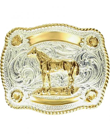 M & F Western Kids' Fancy Horse & Banner Belt Buckle