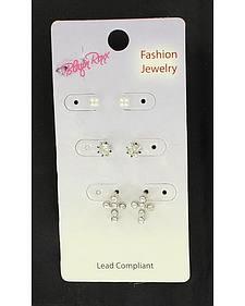 Blazin Roxx Girls' Rhinestone & Pearl Multi Earrings Set