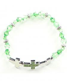 Girls' Green Cross Bracelet
