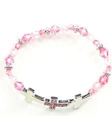 Girls' Pink Cross Bracelet