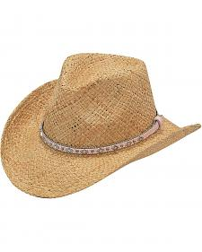 Youth Girls' Raffia Straw Cowgirl Hat