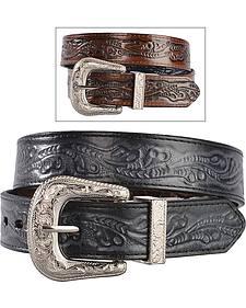 Exclusive Gibson Trading Co. Girls' Embossed Black & Brown Reversible Belt