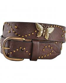 Exclusive Gibson Trading Co. Girls' Brown Embossed Butterfly Concho Belt