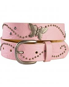 Exclusive Gibson Trading Co. Girls' Pink Embossed Butterfly Concho Belt