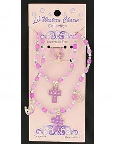 Lil' Western Charm Purple Necklace, Bracelet & Ring Set