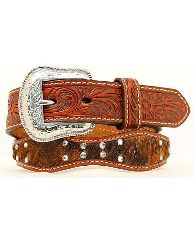 Nocona Kids Floral Tooled Hair-on-Hide Scalloped Leather Belt Western & Country N4432408