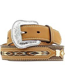 Nocona Kids' Western Woven Inlay Leather Belt