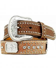 Nocona Kids' Basketweave Hair-on-Hide Concho & Rhinestone Studded Belt