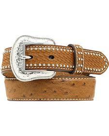 Nocona Kids' Basketweave & Ostrich Print Studded Leather Belt