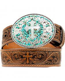 Nocona Kids' Swirling Turquoise Stone Buckle Swirling Cross Embossed Belt