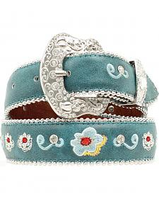Blazin Roxx Girls' Turquoise Floral Embroidered Belt - 18-28