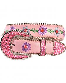 Blazin Roxx Bedecked Pink Floral Embroidered Belt - 18-28