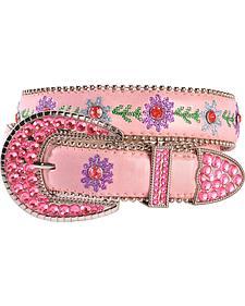 Blazin Roxx Bedecked Pink Floral Embroidered Belt - 18-28