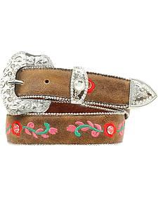 Blazin Roxx Girls' Floral Embroidered Belt - 18-28