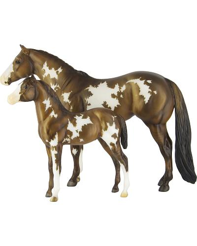 Breyer Overo Pinto Mare & Foal Western & Country 1446