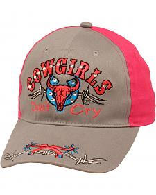 "M & F Western Youth ""Cowgirls Don't Cry"" Grey and Pink Cap"