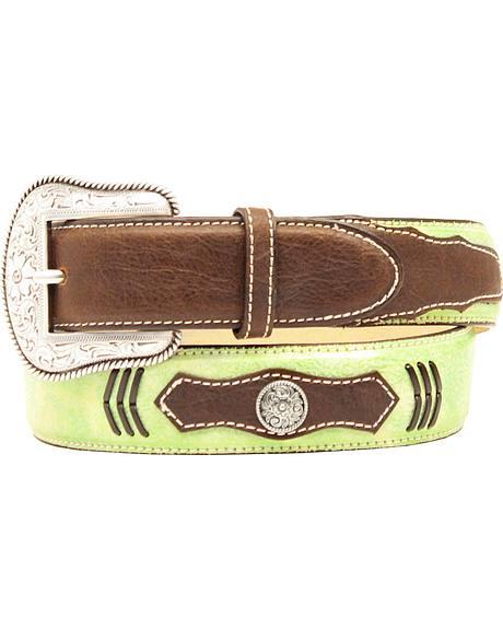 Double Barrel Boys' Lime Green Concho Belt