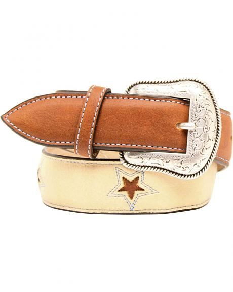 Double Barrel Boys' Tan and Brown Lone Star Belt