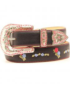 Blazin Roxx Black Floral Embroidered Belt