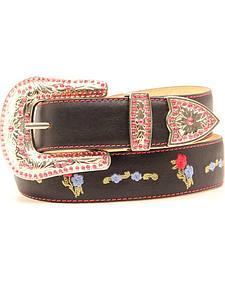 Blazin Roxx Black Floral Embroidered Belt