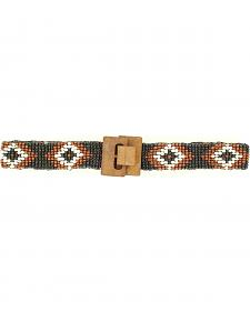 Nocona Girls' Stretch Beaded Diamond Belt