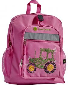 John Deere Girls' Pink Tractor Backpack