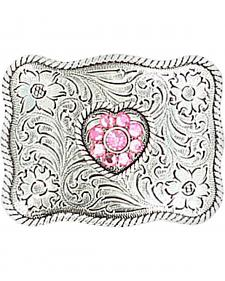 M & F Western Girls' Pink Crystal Heart Belt Buckle