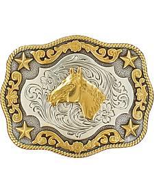 Nocona Boys' Silver & Gold Horse Head Buckle