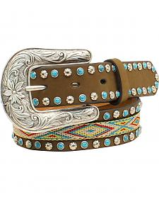 "Blazin Roxx Girls' 1 1/4"" Ribbon Inlay Turquoise Stone Belt"