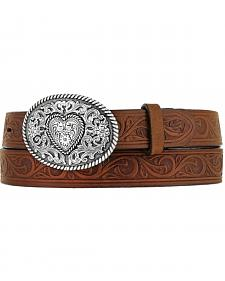Justin Girls' Brown Trophy Heart Belt and Buckle