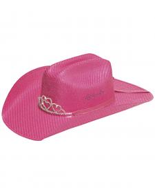Twister Youth Crystal Tiara Pink Straw Cowgirl Hat