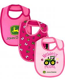 John Deere Infant Girls' Pink Newest Model Bib Set