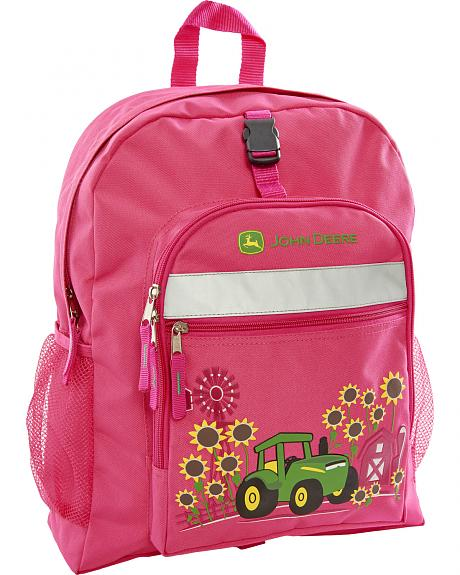 John Deere Girls' Pink Sunflower Trademark Backpack