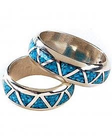 Silver Legends Turquoise Inlay Western Wedding Band
