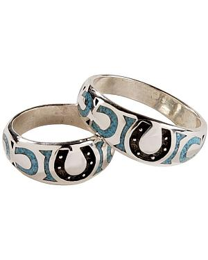 Silver Legends Turquoise Horseshoe Western Wedding Band