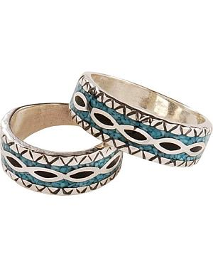 Silver Legends Turquoise Onyx Western Wedding Band