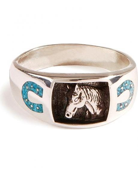 Turquoise Chip Horseshoe Ring