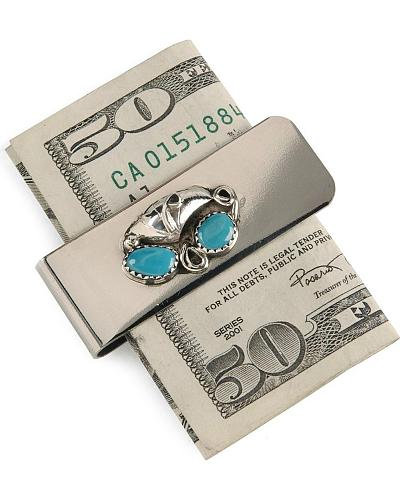 Turquoise Stone Money Clip Western & Country 283207