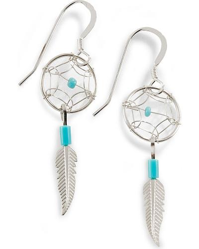 Sterling Silver & Turquoise Dream Catcher Earrings Western & Country DREAM CATCHER EARRIN