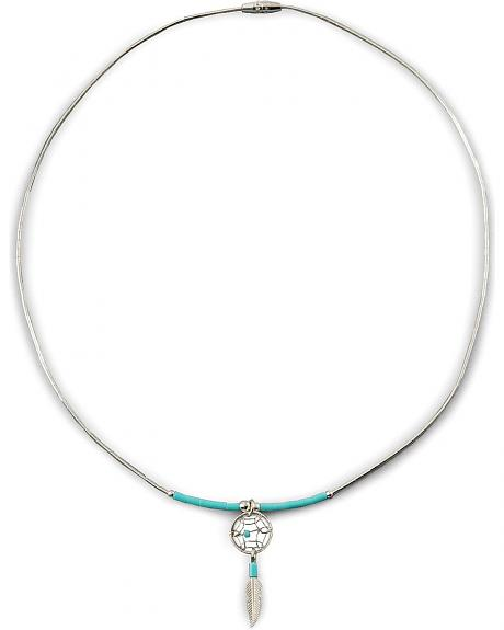Sterling Silver & Turquoise Dream Catcher Necklace