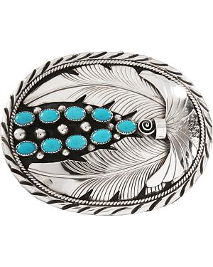 Kingman Turquoise Stone Belt Buckle