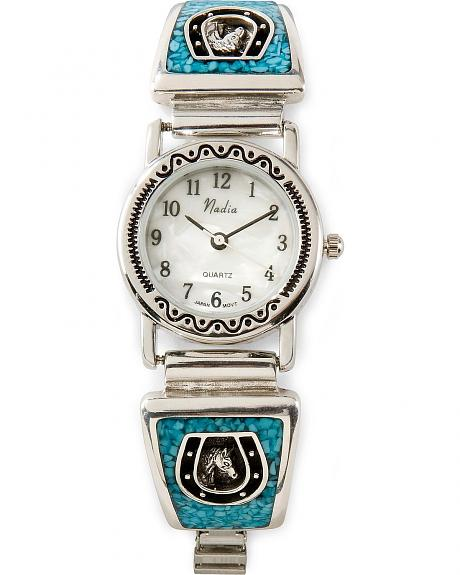 Turquoise Inlay Horseshoe Watch