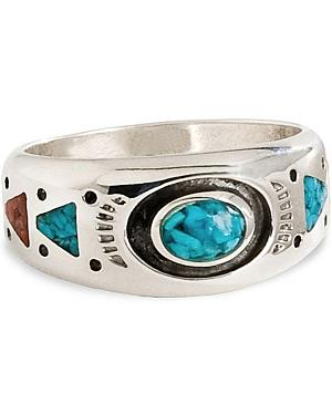 Unisex Turquoise Stone Sterling Silver Ring