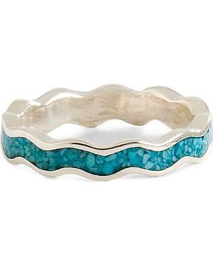 Unisex Turquoise Stone Scalloped Ring