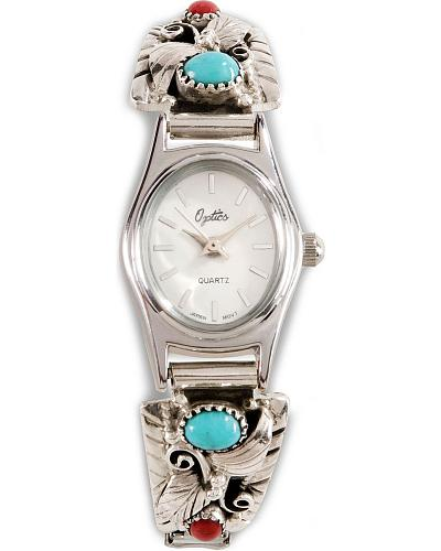 Handmade Turquoise & Coral Stone Embellished Watch Western & Country LADY TQ CORAL WATCH