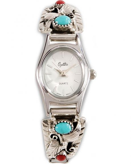 Handmade Turquoise & Coral Stone Embellished Watch