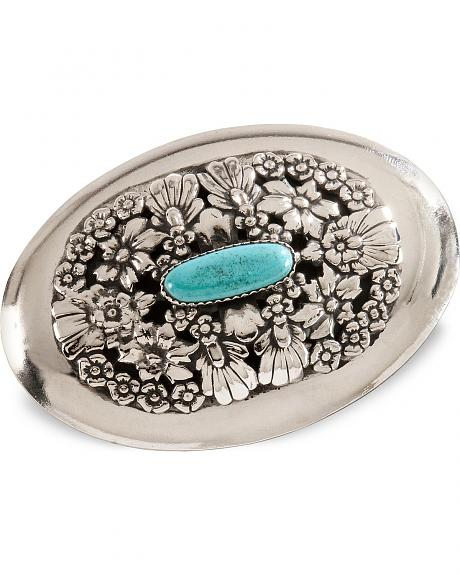 Turquoise Stone Floral Belt Buckle