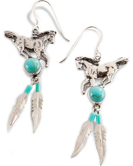Handmade Horse & Feather Earrings